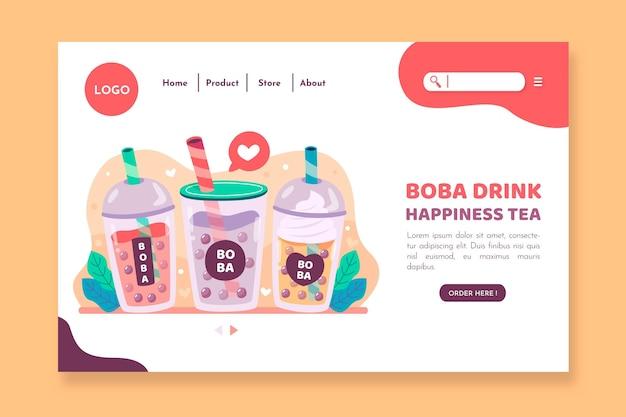 Bubble tea-bestemmingspagina-sjabloon Gratis Vector