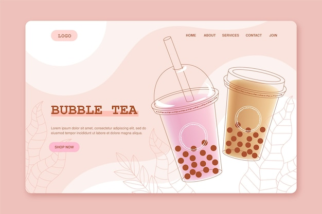 Bubble tea-bestemmingspagina Premium Vector