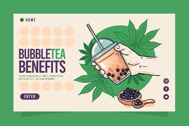 Bubble tea-bestemmingspagina Gratis Vector