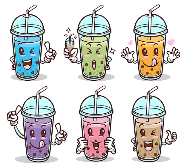 Bubble tea drink schattige stickerset Premium Vector