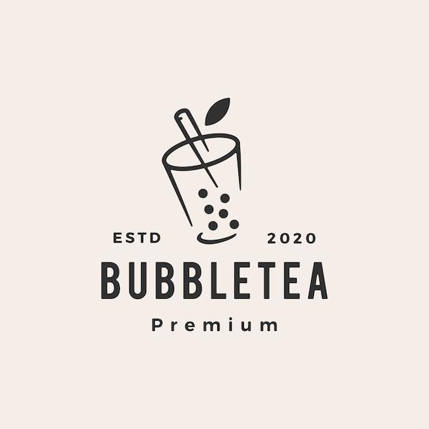 Bubble tea hipster vintage logo pictogram illustratie Premium Vector