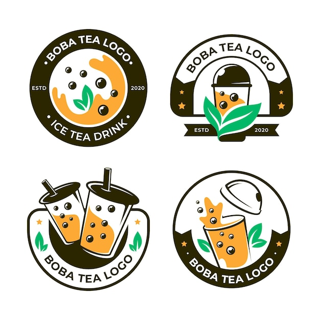 Bubble tea logo collectie Gratis Vector