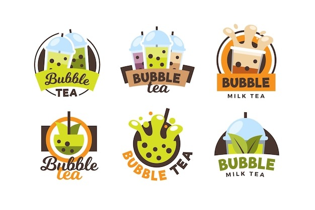 Bubble tea logo collectie Premium Vector