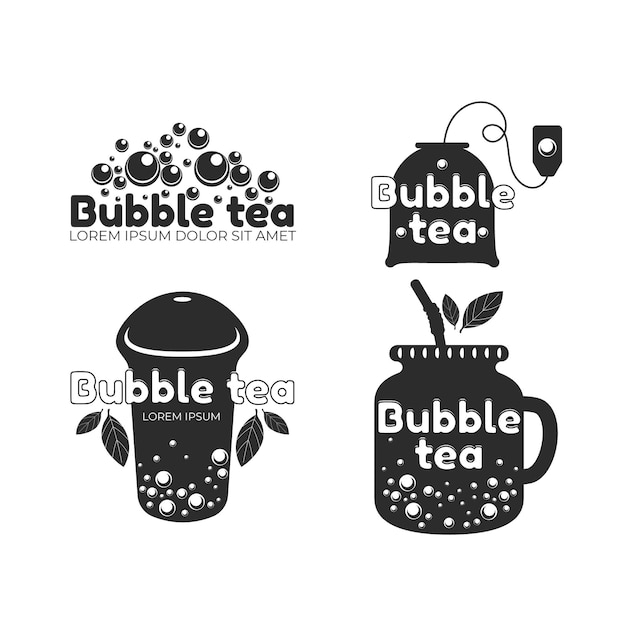 Bubble tea logo sjabloon collectie Gratis Vector