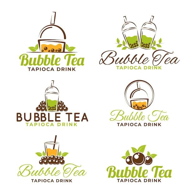 Bubble tea logo sjabloon pack Premium Vector