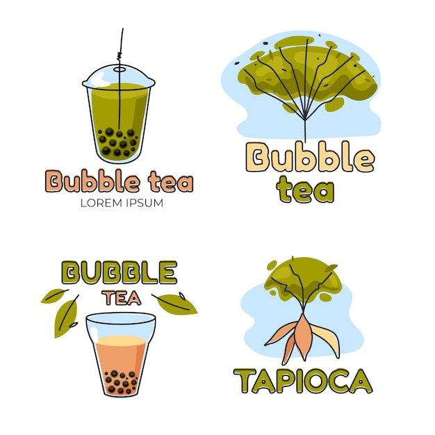 Bubble tea logo sjabloon Premium Vector