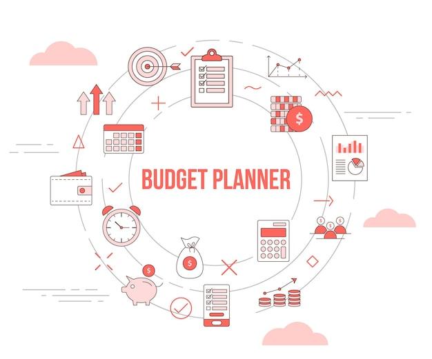 Budget planner concept met pictogrammenset sjabloon banner Premium Vector