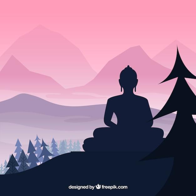 Budha-standbeeld met silhouetstijl Gratis Vector