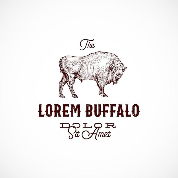 Buffalo abstract teken, symbool of logo sjabloon. Gratis Vector