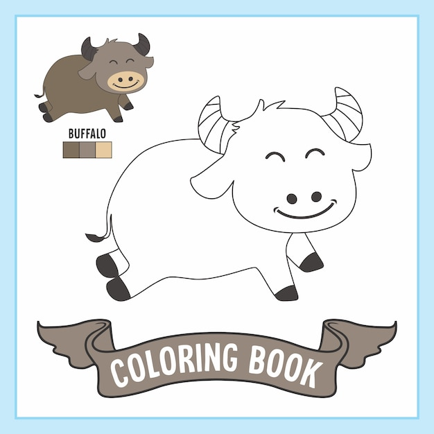 Buffalo animals coloring book pages Premium Vector