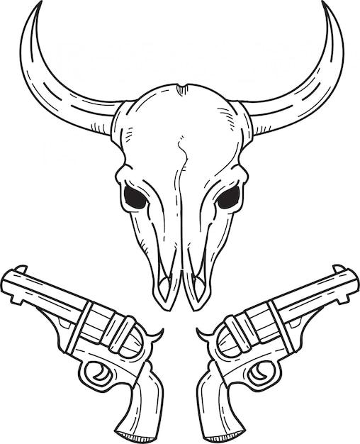 Buffalo hoofd en pistolen Premium Vector