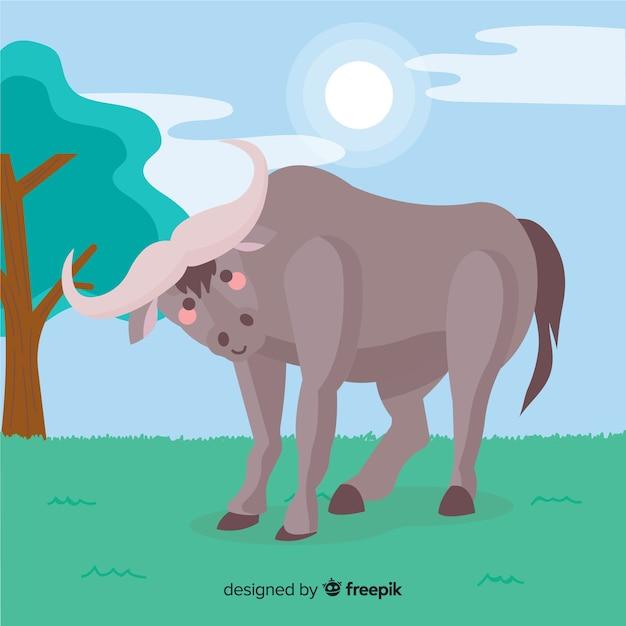 Buffalo in de natuur cartoon Gratis Vector