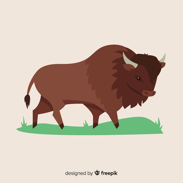 Buffalo tekenen illustratie ontwerp Gratis Vector