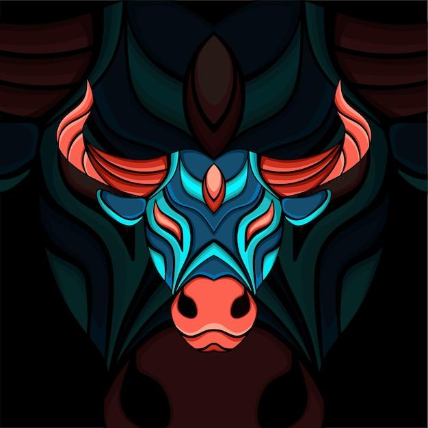 Buffels hoofd ornament illustratie met rode en blauwe kleuren Premium Vector
