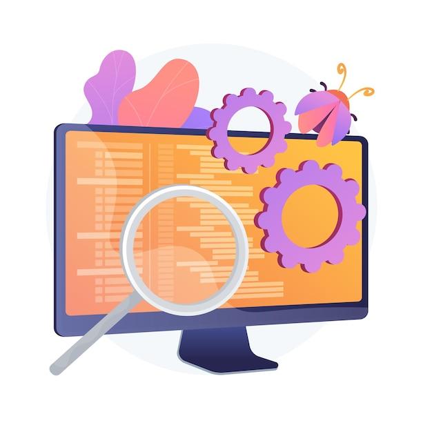 Bugfixatie en softwaretests. hulpprogramma voor het zoeken naar computervirussen. devops, weboptimalisatie, antivirus-app. vergrootglas, tandrad en monitorontwerpelement. Gratis Vector