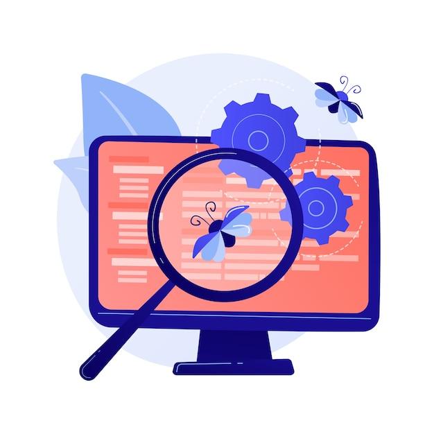 Bugfixatie en softwaretests. hulpprogramma voor het zoeken naar computervirussen. ontwikkelt, weboptimalisatie, antivirus-app. vergrootglas, tandrad en monitor ontwerp element concept illustratie Gratis Vector