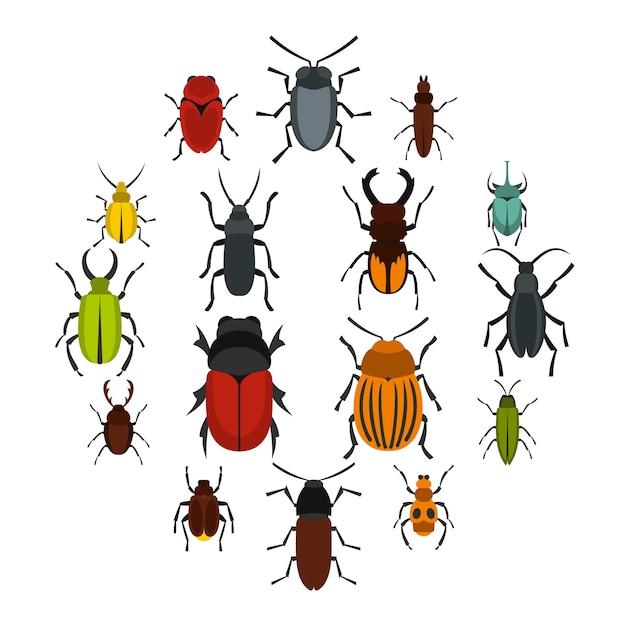 Bugs instellen plat pictogrammen Premium Vector