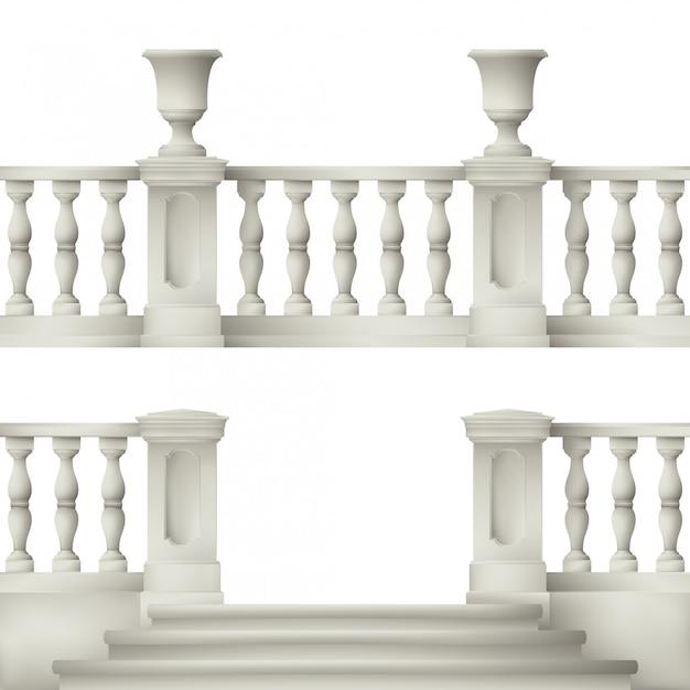 Buiten- en parkelementen: balustrade, decoratieve vaas, set landschapselementen Premium Vector