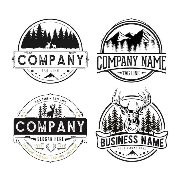Buiten retro emblemen, berg, boom, avontuur ingesteld logo sjabloon Premium Vector