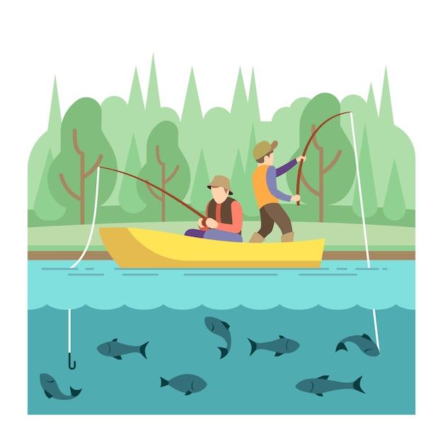 Buiten zomeractiviteiten. visserij sport vector concept. zomervakantie vissen, illustratie overtreffen Premium Vector