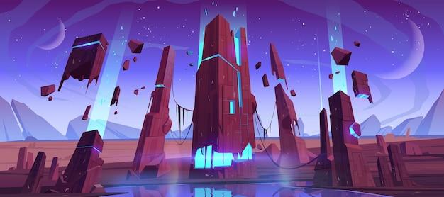 Buitenaards planeetoppervlak, futuristisch landschap met gloeiende en vliegende rotsen, twee manen in de schemerende sterrenhemel. wetenschappelijke ontdekking, fantasie computerspelscène, cartoon vectorillustratie Gratis Vector