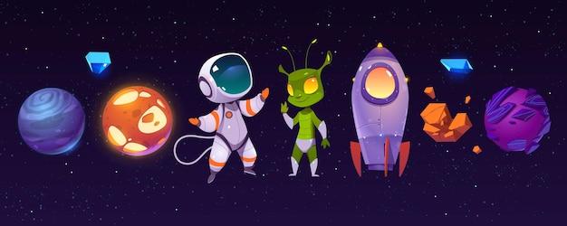 Buitenaardse planeten, astronaut, grappig buitenaards wezen en raket Gratis Vector