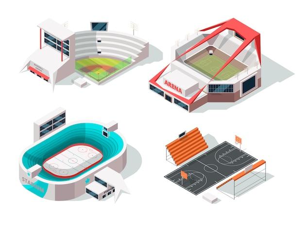 Buitenkant van honkbal, voetbal, hockey en basketbalstadions. gebouwen in isometrische stijl Premium Vector