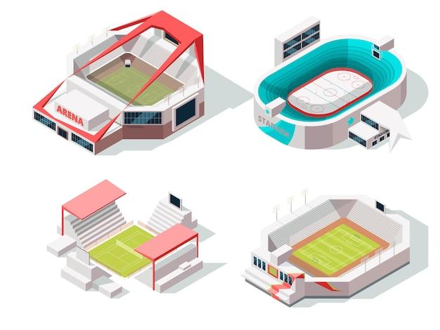 Buitenkant van stadion gebouwen hockey, voetbal en tennis. isometrische afbeeldingen Premium Vector