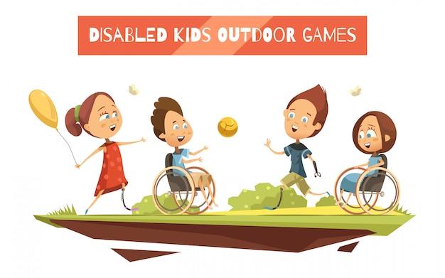 Buitenspellen van gehandicapte kinderen op rolstoel Gratis Vector
