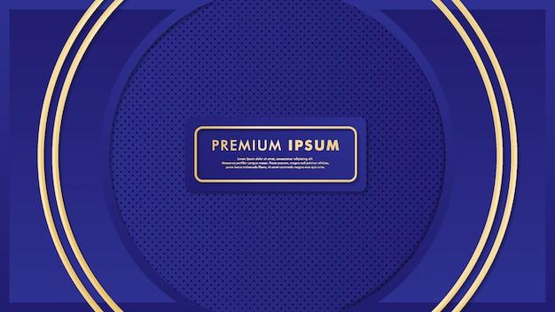 Buitensporige blauwe achtergrond met gouden detailis Premium Vector