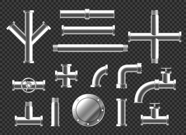 Buizen en buizen sanitair hulpstukken realistische 3d-set. metalen of kunststof pijpleiding met kleppen, schroefdraad en kranen. rvs metalen vertakte verbindingen geïsoleerd op transparante achtergrond Gratis Vector