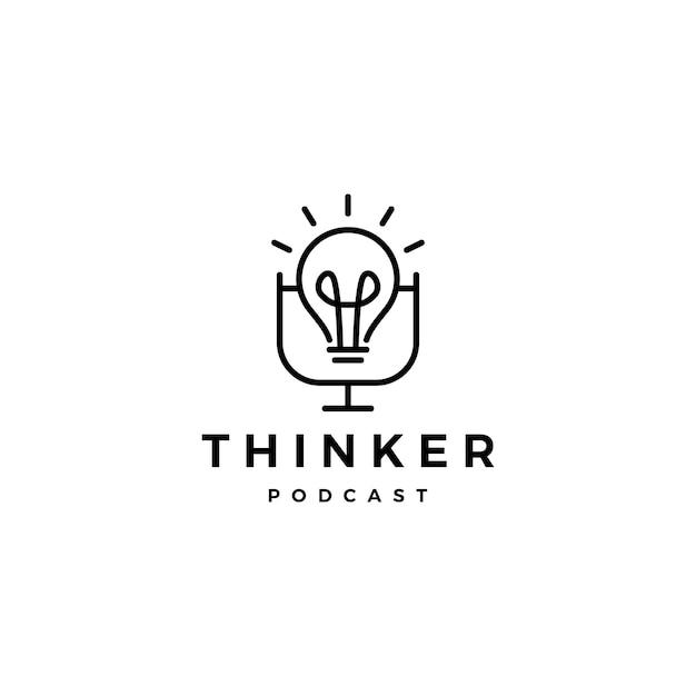 Bulb podcast logo pictogram voor idee blog video vlog kanaal Premium Vector