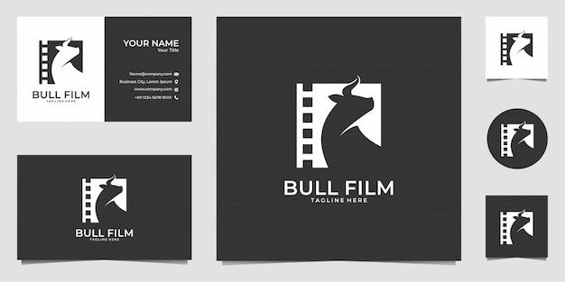 Bull film film logo ontwerp en visitekaartje Premium Vector