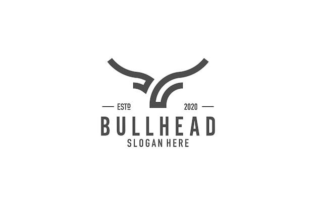Bull head lijntekeningen logo Premium Vector