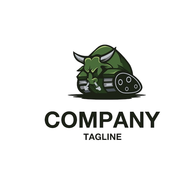 Bull tank logo vector Premium Vector