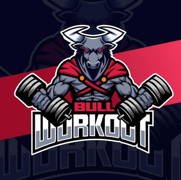 Bull workout mascotte logo Premium Vector