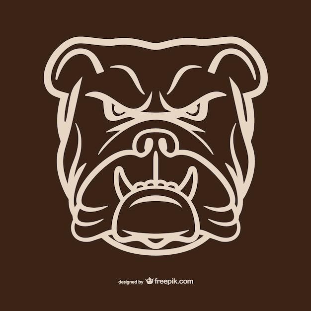 Bulldog hoofd overzicht Gratis Vector