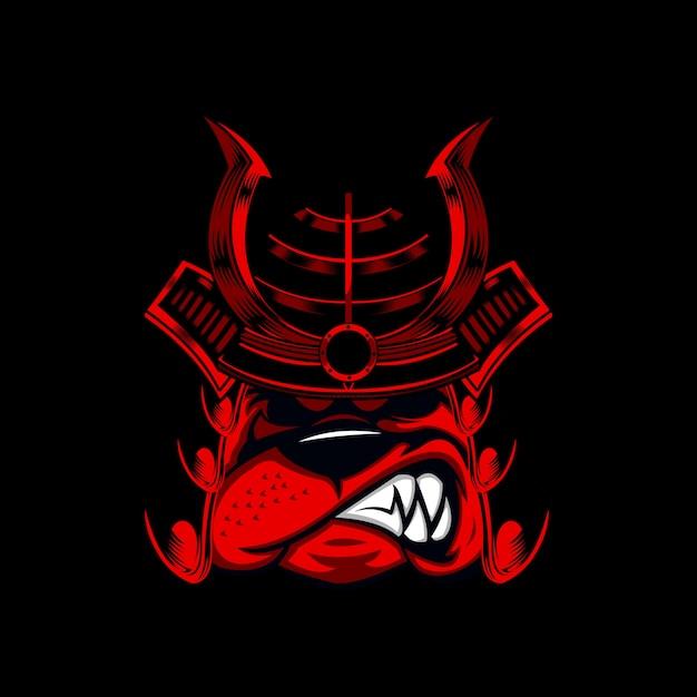Bulldog warrior illustratie Premium Vector