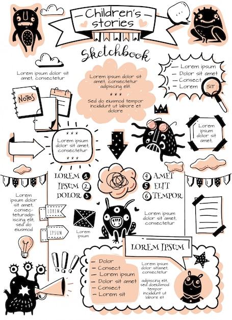 Bullet dagboek doodle elementen infographics. bullet journal doodle infographics elementen en kindermonsters. handgetekende afbeeldingen in cartoon-stijl. verticale poster Premium Vector
