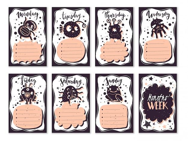 Bullet dagboek doodle monsters kaarten set. schoolweekplanner voor het lesrooster en de opdrachten. de monsters in doodle-stijl. hand getekende elementen Premium Vector