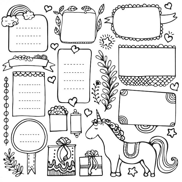 Bullet dagboek handgetekende elementen voor notebook, dagboek en planner. doodle frames geïsoleerd op een witte achtergrond. Premium Vector