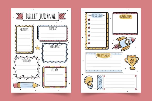 Bullet journal planner collectie Gratis Vector