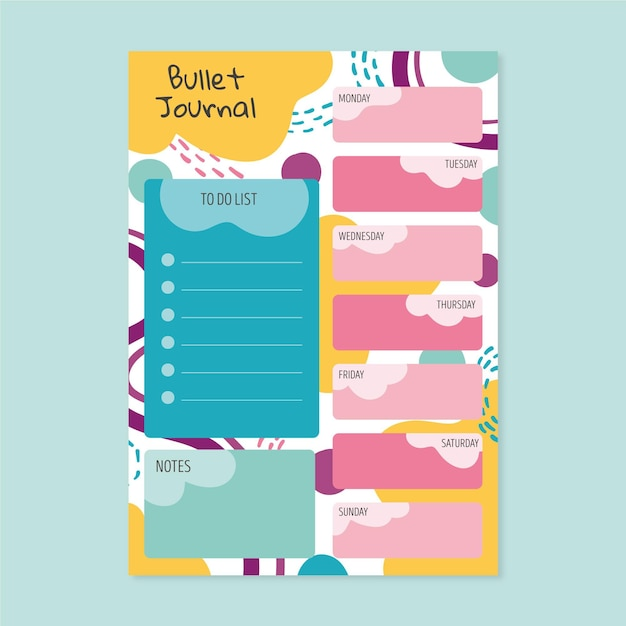 Bullet journal planner met kleurrijke vormen Gratis Vector