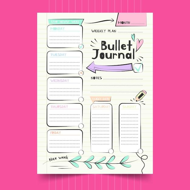 Bullet journal planner sjabloon grote pijl Premium Vector