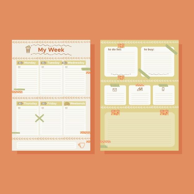 Bullet journal planner sjabloon set Gratis Vector