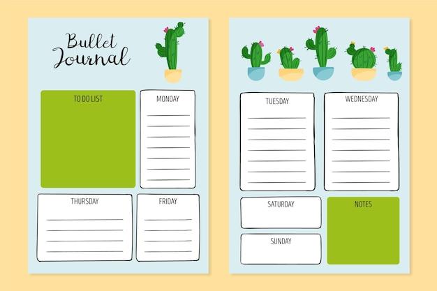 Bullet journal planner-sjabloon Gratis Vector