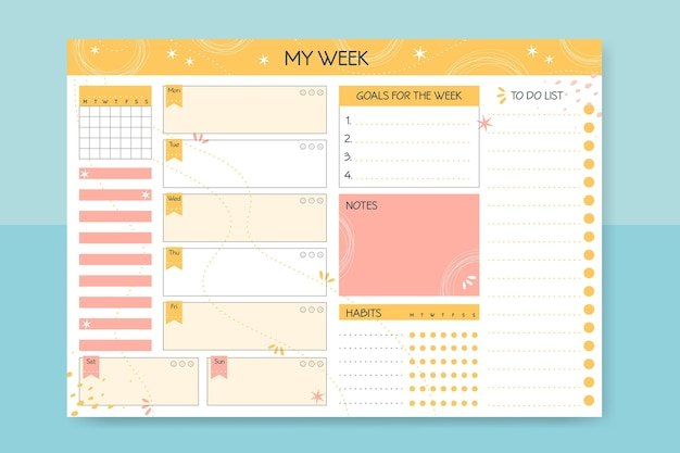 Bullet journal planner-sjabloon Premium Vector