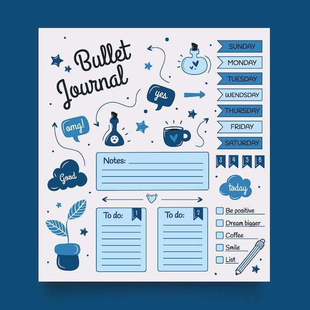 Bullet journal planner-sjabloon Premium Vector