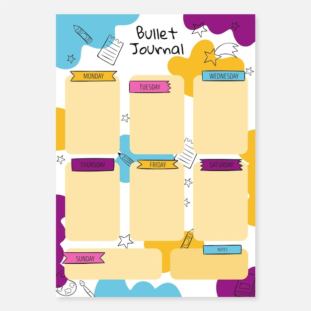 Bullet journal planner-sjabloon Gratis Vector