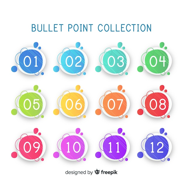 Bullet punt verzameling Gratis Vector